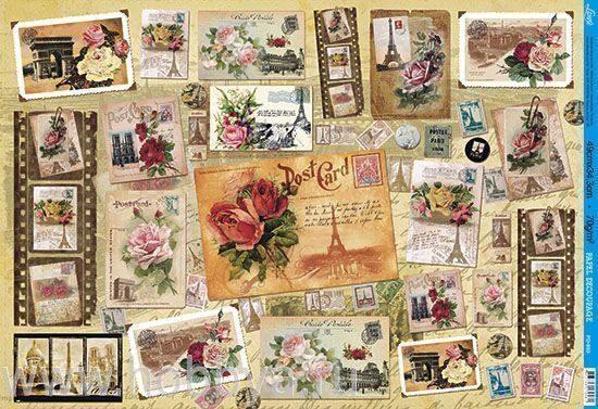 Декупаж на бумаге открытка